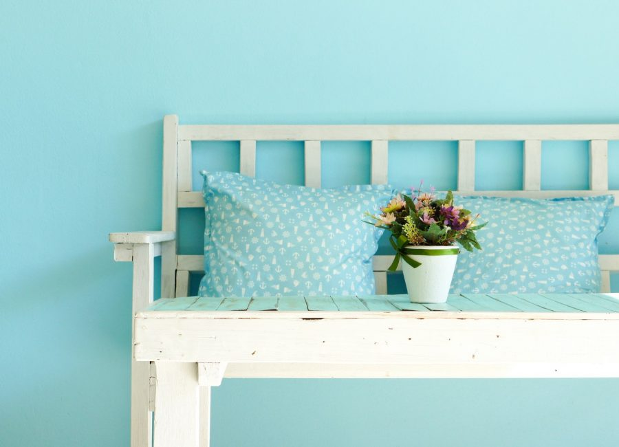 Blue,Vintage,Living,Room,,White,Wooden,Bench,And,Table,On